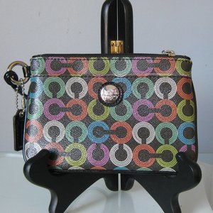 Coach Wristlet Colorful Circle Pattern Card holder